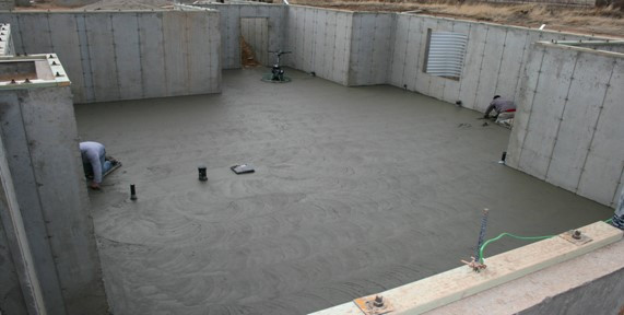 Concrete walls and flooring