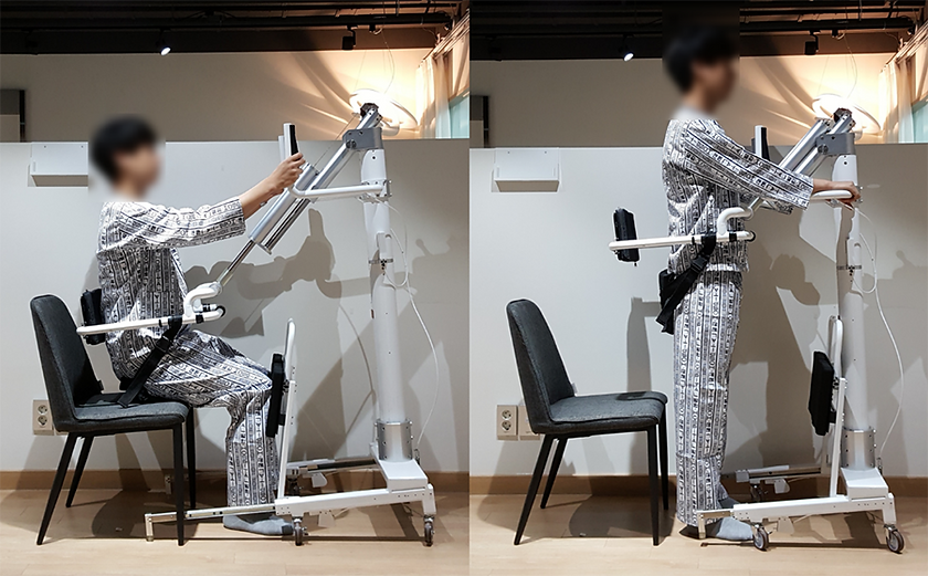 Sit-to-stand and walking assistance device