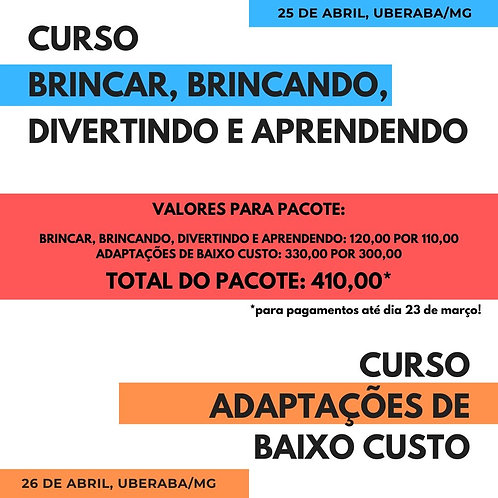 """Pacote de 2 cursos: """"Brincar"""" e """"Adaptações de baixo custo"""" - com Lina Santos"""