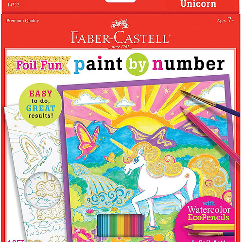 Faber-Castell Paint by Number Foil Fun - Unicorns - Color and Display 1 Unicorn