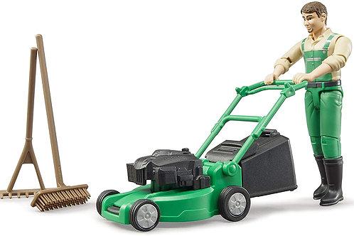 Bruder 62103 bworld Gardener w Lawn Mower and Accessories