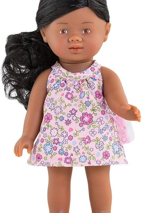 """Corolle - Mini Corolline Rosaly 8"""" Doll with Black Hair and Floral Dress, for Ki"""