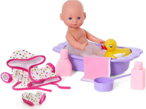 Kidoozie Bathtime Baby, 12-Inch Doll, Bath tub and Accessories for Kids, Pretend