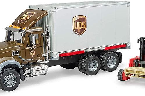 Bruder 02828 Mack Granite Ups Logistics Truck with Forklift Vehicles - Toys