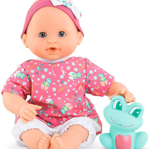 """Corolle Bebe Bath Oceane - 12"""" Girl Baby Doll with Rubber Frog Toy, Safe for Wat"""