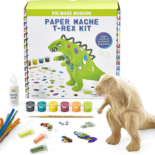 Kid Made Modern Art Projects for Kids 6-8 Paper Mache T-Rex Kit - Paint Your Ow