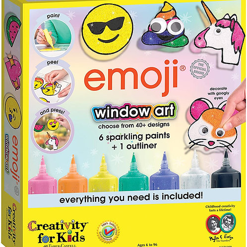Creativity for Kids Emoji Window Art - Paint Your Own DIY Window Art Craft Kit