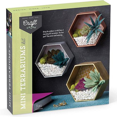 Craft Crush – Mini Terrariums Craft Kit – Make 3 Geometric Terrariums with Color
