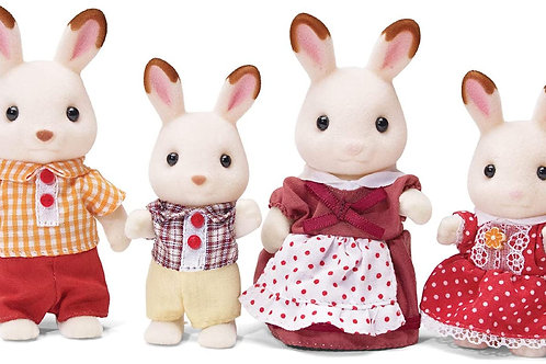 Calico Critters, Hopscotch Rabbit Family, Dolls, Doll House Figures, Collectible