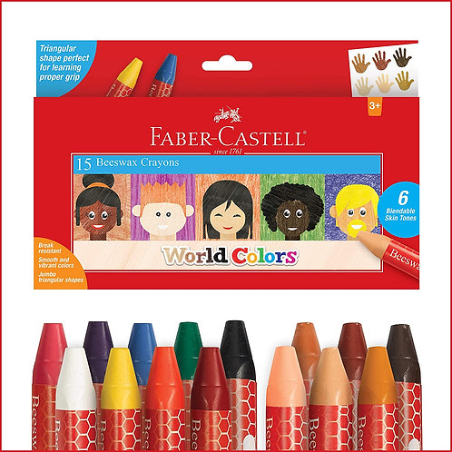 Faber-Castell World Colors Beeswax Crayons - 15 Count, 9 Traditional and 6 Skin