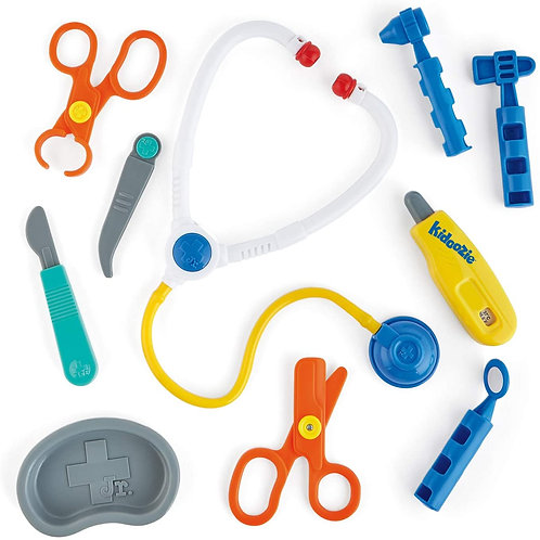 Kidoozie My First Doctor's Kit, 10 PCS Kids Pretend Play Doctor Kit Toy and Carr