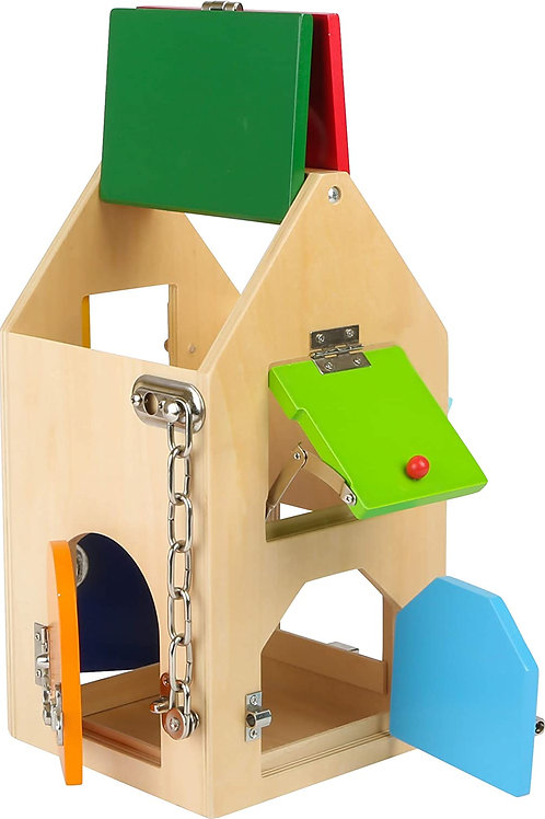 Roll over image to zoom in small foot wooden toys Big House of Locks with Locks