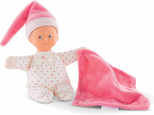 Minirêve Pink Heart is a mini 6-inch soft baby doll for the very young Features