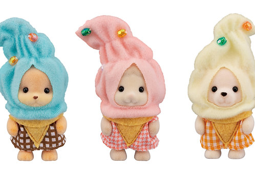 Calico Critters Ice Cream Cuties, Limited Edition Playset with 3 Collectible Fig