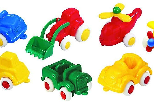 """Viking Toys - Mini Chubbies Primary Gift Set - Includes 7 Colorful 2.75"""" Vehicle"""