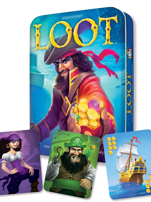 Gamewright Loot Deluxe Tin - The Plundering Pirate Card Game Card Game Multi-col