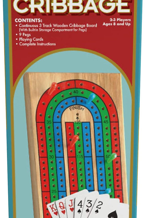 Family Classics Cribbage - Solid Wood Continuous 3 Track Board with Built-In Sto