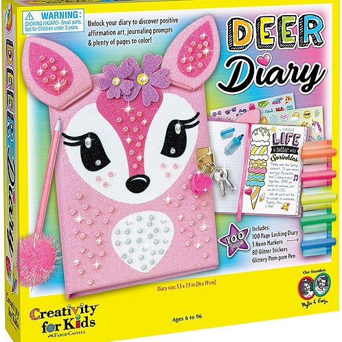 Creativity for Kids Deer Diary - Diary with Lock for Kids - 100 Page Writing Jo