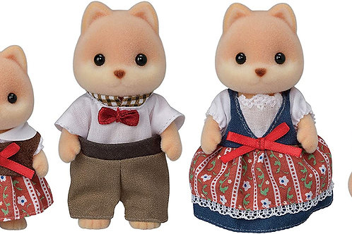 Calico Critters Caramel Dog Family, Dolls, Dollhouse Figures, Collectible Toys ,