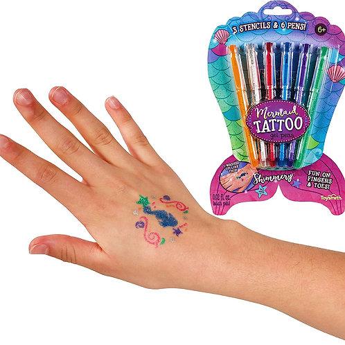 Toysmith Mermaid Tattoo Gel Pens with Stencils