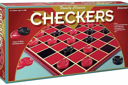 Pressman Family Classics Checkers -- with Folding Board and Interlocking Checke