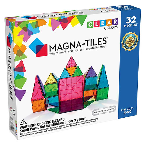 Magna-Tiles 32-Piece Clear Colors Set, The Original Magnetic Building Tiles For