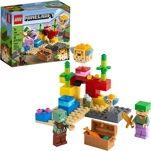 LEGO Minecraft The Coral Reef 21164 Hands-on Minecraft Marine Toy Featuring Ale