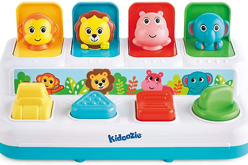 Kidoozie Pop 'n Play Animal Friends, Pop Up Activity Toy for Learning Colors, Nu