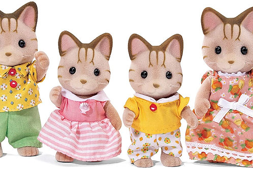 Calico Critters, Sandy Cat Family, Dolls, Dollhouse Figures, Collectible Toys, P