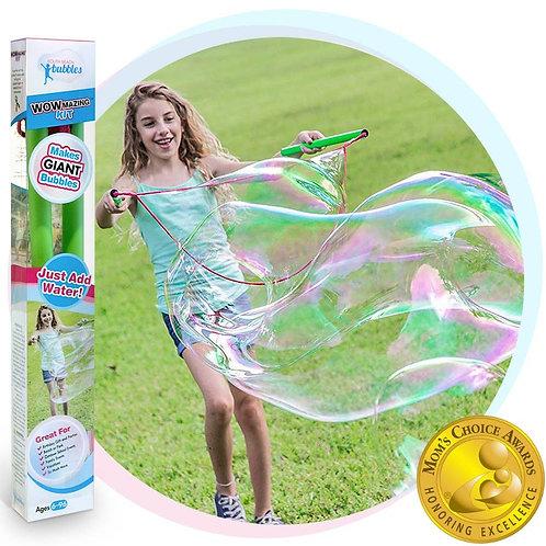 WOWMAZING Giant Bubble Wands Kit: (4-Piece Set)   Incl. Wand, Big Bubble Concent