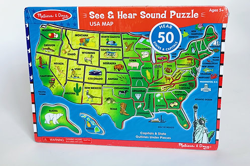 USA Map See and Hear Sound Puzzle