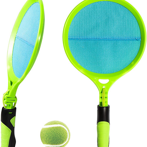 SPRING ACTION HANDLE for fast paced fun! The game includes (2) handheld netted l
