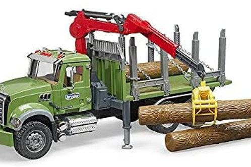 Bruder 02824 MACK Granite Timber Truck with Loading Crane and 3 Trunks