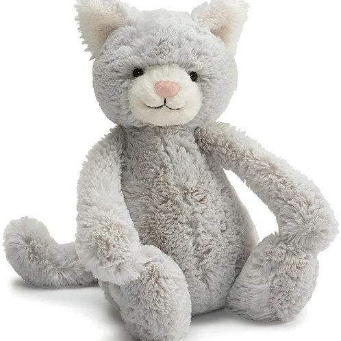 Jellycat Bashful Grey Kitty Stuffed Animal, Medium, 12 inches