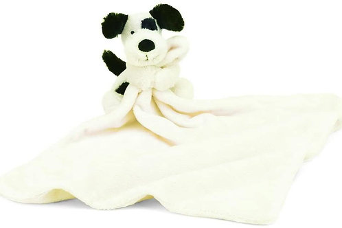 Jellycat Bashful Black and Cream Puppy Baby Stuffed Animal Security Blanket