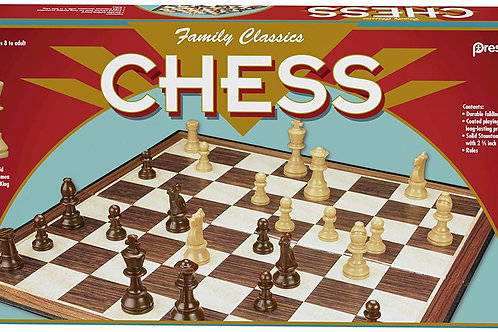 Family Classics Chess by Pressman -- with Folding Board and Full Size Chess Pie