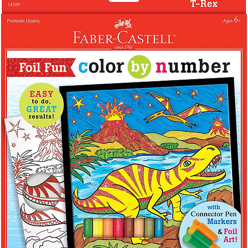 Faber-Castell Color by Number Foil Fun - T-Rex - Color and Display 1 Dinosaur C