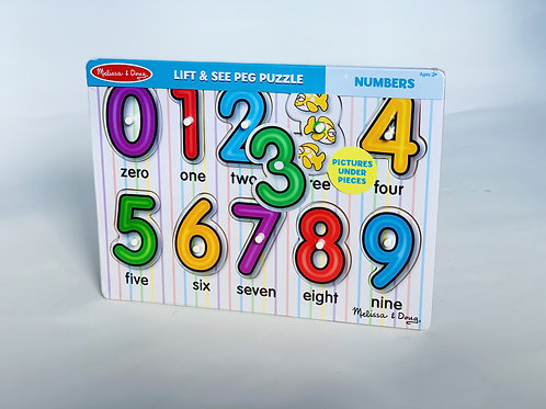 Numbers Lift and See Peg Puzzle