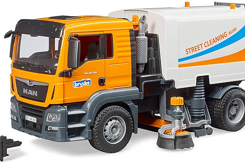 Bruder Toys - Commercial Realistic MAN TGS Street Sweeper Truck with Open-able D