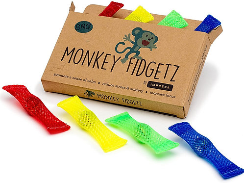 Monkey Fidgetz Mesh-and-Marble Fidget Toy - 8-Pack - Helps Stress / Anxiety for