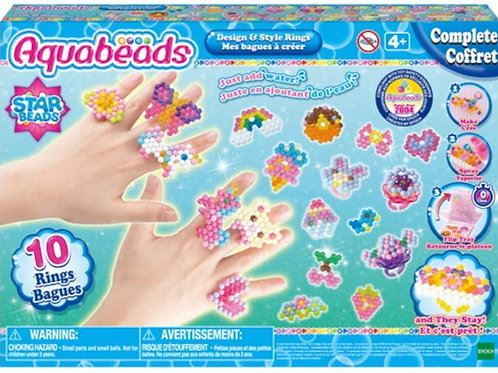 Aquabeads Design & Style Rings Complete Arts & Crafts Bead Kit for Children - cr