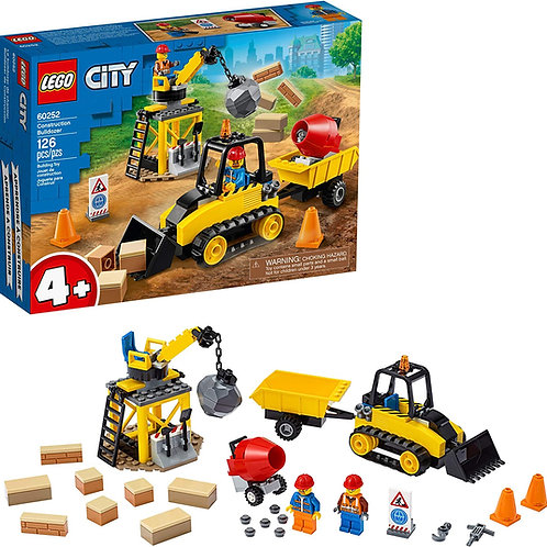 LEGO City Construction Bulldozer 60252 Toy Construction Set, Cool Building Set f