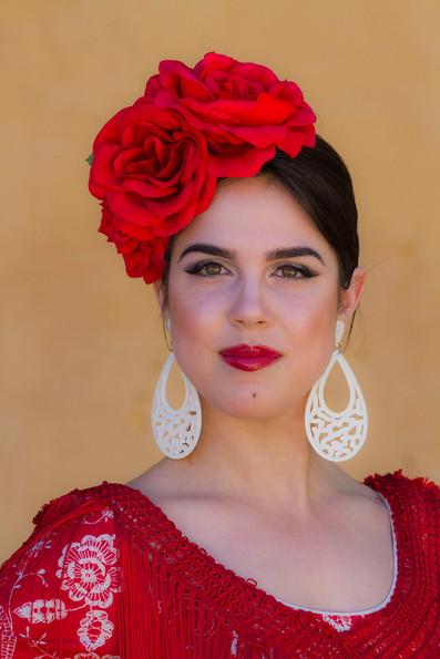 Young Andalucian women wearing a traditional 'Flamenco' costume