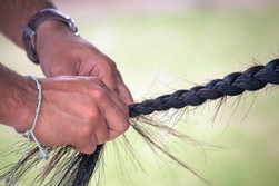 The platting of a polo pony tail