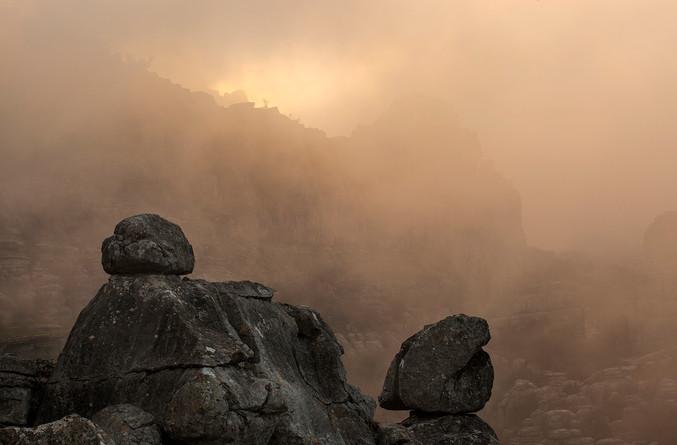 Limestone boulders shrouded in mist - El Torcal de Antequera