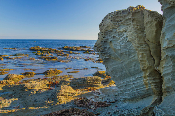 Honeycomb weathered rock slab