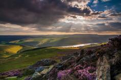Crepuscular rays over Ladybower
