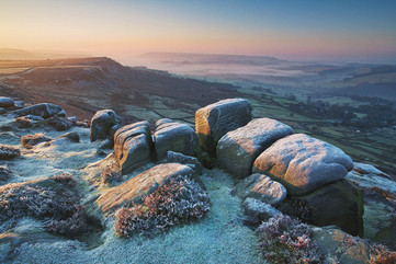 Hoarfrosted gritstones boulders