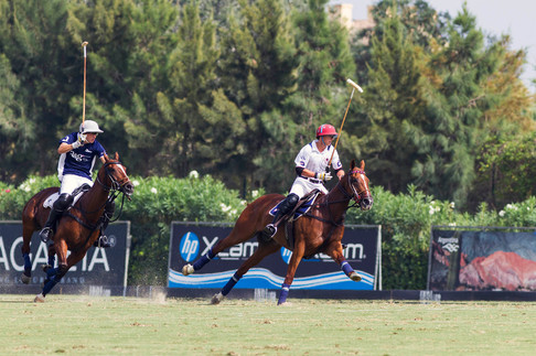 Polo players in combat