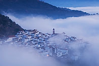 Algatocin shrouded in mist, Andalucia, S